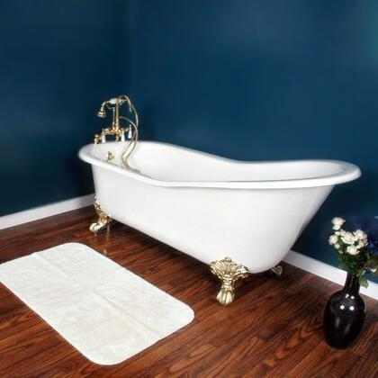 """Cambridge ST677DH Cast Iron Slipper Clawfoot Tub 67"""" x 30"""" with 7"""" Deck Mount Faucet Drillings"""