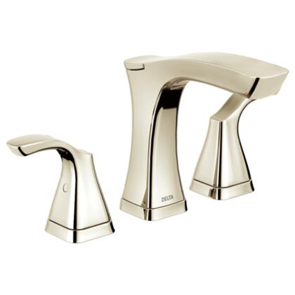 Tesla  3552-PNMPU-DST Delta Tesla: Two Handle Widespread Lavatory Faucet - Metal Pop-Up in Polished Nickel