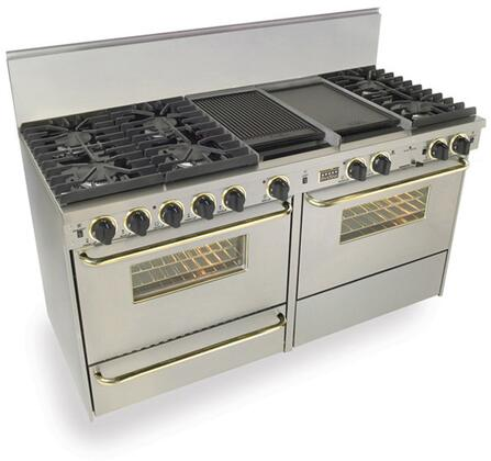 "FiveStar TTN6377BSW 60""  Stainless Steel with Brass Dual Fuel Freestanding Range with Sealed Burner Cooktop, 3.69 cu. ft. Primary Oven Capacity, Broiler"