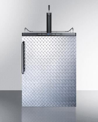 "Summit SBC635MBIXDPLX 24"" Built In Beer Dispenser with 5.6 cu. ft. Capacity, Deep Chill Function, Digital Thermostat, Automatic Defrost, Top Rail Guard and Pro Towel Bar Handle: Diamond Plate with"