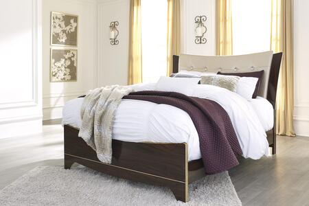 Signature Design by Ashley Lenmara Collection B247PANEL Panel Bed with Gold-Tone Satiny Fabric, Faux Crystal Button Tufting and Dual Layered Headboard Design in Reddish Brown