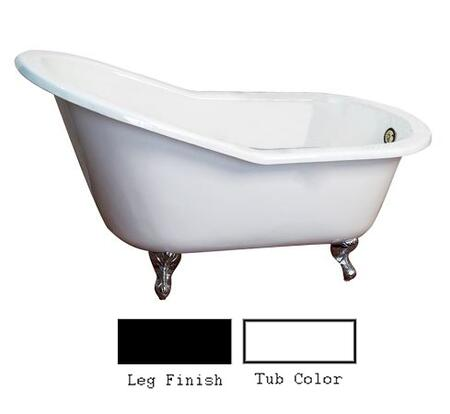 """Barclay CTSN63 63"""" Holloway Cast Iron Slipper Tub with Overflow and No Holes in"""