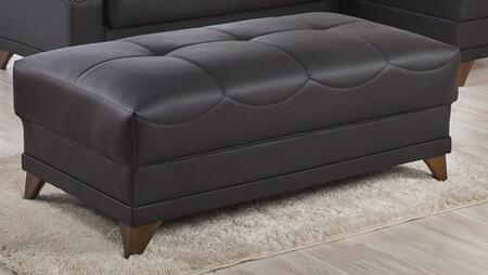 Black Leatherette Ottoman