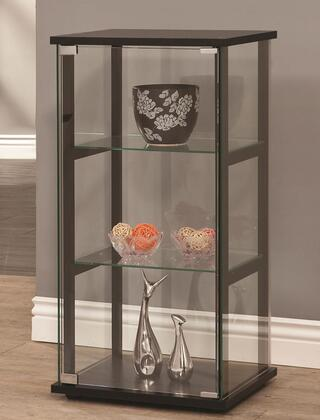 Coaster 95017 Curio Cabinets Contemporary Curio Cabinet with X Tempered Glass Shelves, Metal Hardware and Solid Wooden Frame in Black Finish