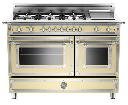 "Bertazzoni Heritage HER486GGASXLP 48"" Liquid Propane Duel Fuel Range With 6 Brass Burners, 18,000 BTUs Power Burner, Electric 1100W Stainless Griddle, 3.6 cu. ft. Gas Convection Oven and in Cream Finish"