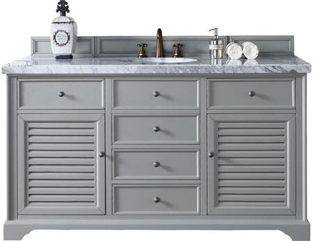 "James Martin Savannah Collection 238-104-V60S-UGR- 60"" Urban Gray Single Vanity with Two Soft Closing Doors, Five Soft Closing Drawers, Antique Pewter Hardware and"