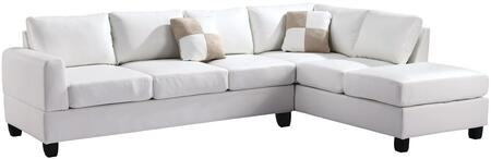 """Glory Furniture 111"""" Sectional Sofa with Comfortable Tufted Seating, Removable Backs and PU Leather Upholstery"""