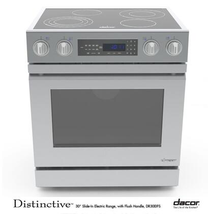 "Dacor Distinctive Collection DR30EI 30"" Slide-In Electric Range, 4 Burners, 4.8 cu. ft. Convection Oven, Digital Temperature Probe, Professional Knobs: Stainless Steel, X Handle"