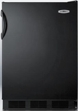 """Summit FF6BBI7X 24"""" AccuCold Series X, Commercial, Medical Freestanding or Built In Compact Refrigerator with 5.5 cu. ft. Capacity, Adjustable Glass Shelves, Automatic Defrost and Interior Lighting, in Black"""