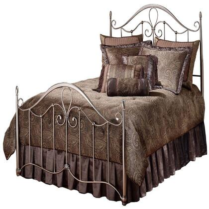 Hillsdale Furniture 1383BR Doheny Poster Bed Set with Rails Included, Slender Tapered Posts, Sweeping Scrollwork and Tubular Steel Construction in Antique Pewter