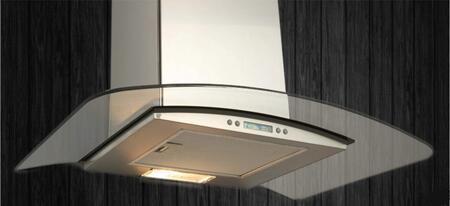 Potenza Stainless, Glass Wall Mounted Range Hood: Standard View of the Range Hood in Position