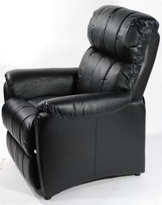 Fine Mod Imports FMI6005BLACK Contemporary Leather Wood Frame  Recliners