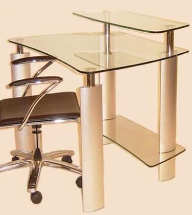 Chintaly 6912DSK 6912-DSK Series Computer Desk  glass, metal Desk