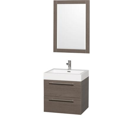"Wyndham Collection WCR410024AR Amare 24"" Single Sink Vanity with Acrylic-Resin Top and Integrated Square Sink in X Finish"