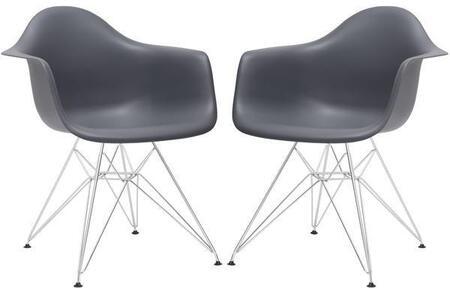 EdgeMod EM111CRMGRYX2 Padget Series Modern Metal Frame Dining Room Chair