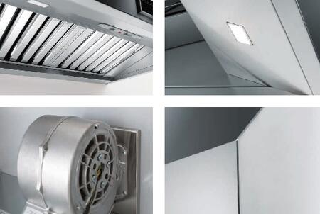 Fulgor Milano F6PH3 600 Series Professional Hood with 600 CFM, 72 dbA, Baffle Filter, Ducted or Recirculating Use and LED Lighting: Stainless Steel