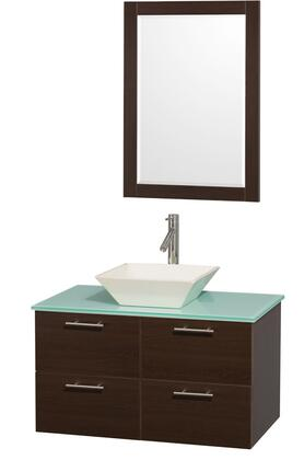 """Wyndham Collection Amare 36"""" Single Sink Bathroom Vanity with Top, Vessel Sink, Matching Mirror, 2 Doors and 2 Drawers in"""