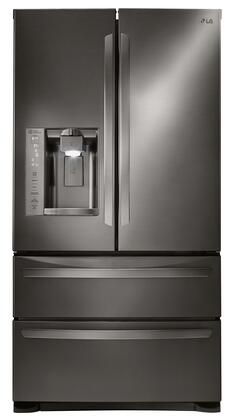 "LG LMXS27626 36"" French Door Refrigerator with 27 cu.ft. Ultra Capacity, Ice/Water Dispenser, Double Freezer Drawers, Electronic Temperature Controls, LED Lighting, 2 Humidity Crispers and Tempered Glass Shelves, in"