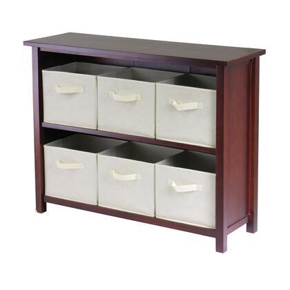 Winsome 94X91 Verona 2-Section W Storage Shelf in Walnut with 6 Foldable Fabric Baskets