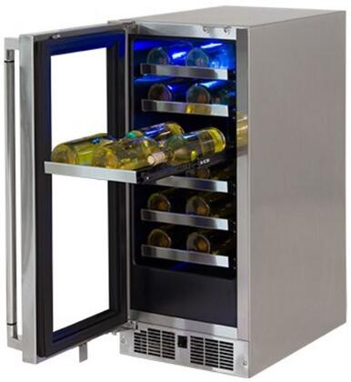 "Lynx LM15WINEx 15"" Professional Outdoor Wine Cellar with 2.7 cu. ft. or 24 Bottle Capacity, Blue LED Interior and Full Extension Smooth Glide, in Stainless Steel with"