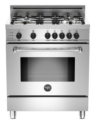 "Bertazzoni Master MAS304DFSXF 30"" Dual-Fuel Self-Clean Range XT With 4 Brass Burners, 18000 BTUs Power Burner, 3.4 cu. ft. Electric Self-Clean Convection Oven, 9 Cooking Functions & In Stainless Steel"