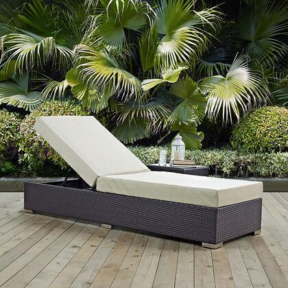 """Modway Convene EEI1846EXP 82.5"""" Outdoor Patio Chaise Lounge with Fabric Cushions, Stainless Steel Legs, Powder Coated Aluminum Tube Frame, UV and Water Resistant in Espresso and"""