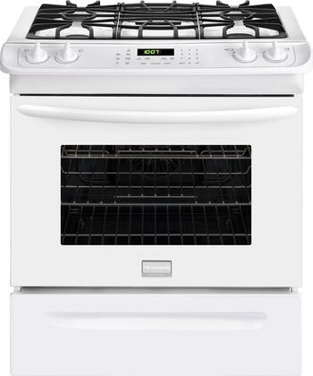 "Frigidaire FGGS3065PW 30""  White Slide-in Gas Range with Sealed Burner Cooktop, 4.5 cu. ft. Primary Oven Capacity, Storage"
