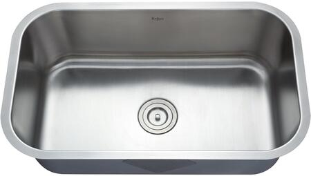 """Kraus KBU14KPF21SD20 Premier Series 32"""" Undermount Single-Bowl Kitchen Sink with Stainless Steel Construction, Sound Insulation, and Included Kitchen Faucet"""