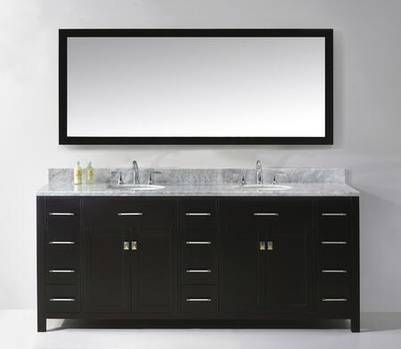 "Virtu USA MD-2178 Virtu USA 78"" Caroline Parkway Double Sink Bathroom Vanity Set in with Italian Carrara White Marble Countertop"