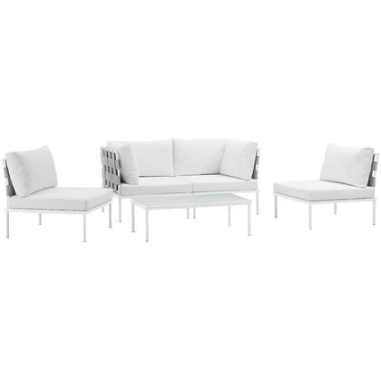 Modway Harmony Collection EEI-2622-WHI- 5-Piece Outdoor Patio Aluminum Sectional Sofa Set with Coffee Table, 2 Armless Chairs and 2 Corner Sofas in
