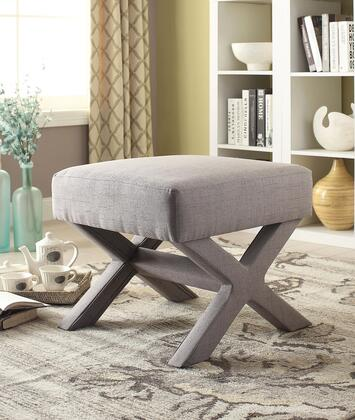 """Coaster Ottomans 21.5"""" Square Ottoman with X-Shaped Base, Fabric Upholstered Seat and Legs in"""