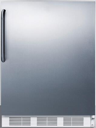 """AccuCold FF6XCSS 24"""" Freestanding or Built In Compact Refrigerator with 5.5 cu. ft. Capacity, Crisper, Interior Light, in Stainless Steel"""