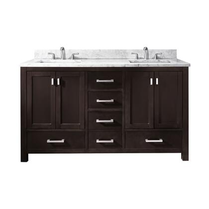 "Avanity MODERO-V60 Modero 60"" Vanity Only, with Brushed Nickel Finished Hardware, Soft Close Doors, Soft Close Drawers, and Adjustable Height Levelers"