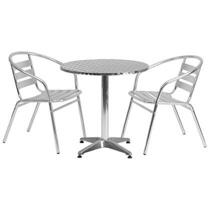 Flash Furniture TLH-ALUM-28RD-017BCHR-GG 27.5'' Round Aluminum Indoor-Outdoor Table with Slat Back Chairs