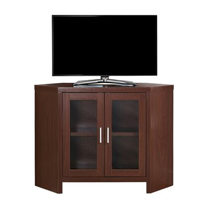 "Monarch I27042TV 42"" Corner TV Stand with Two Glass Doors, Shelf and Silver Handles in"