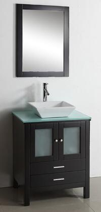 """Virtu USA Brentford 28"""" MS-4428-x-ES Single Sink Bathroom Vanity in Espresso Finish with x Countertop, Matching Framed Mirror, 2 Doors, 2 Doweled Drawers and Brushed Nickel Hardware"""
