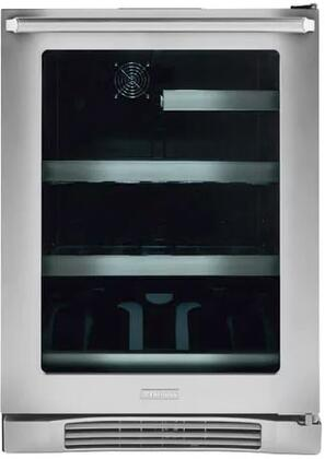 "Electrolux EI24xL10QS 24"" Undercounter Beverage Center with 2 Glass Shelves, 1 Wine Rack, UV Filtered Glass Door, and Temperature Alarm, in Stainless Steel"