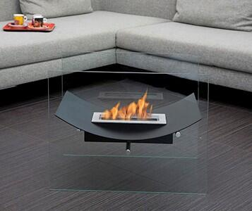 Bio-Blaze Veniz Collection BBVBWX Freestanding Ethanol Fireplace, 2 Tempered Glass Panels and 1 Linear Burner