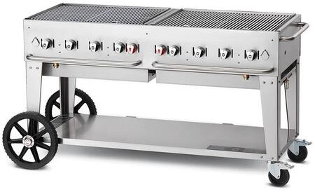 """Crown Verity CVMCB60RDP 60"""" Liquid Propane Mobile Grill up to 129,000 BTU in Stainless steel"""