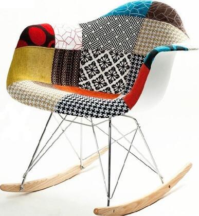 Fine Mod Imports FMI10098COLORED  Armless  Plastic Frame Fabric Rocking Chair