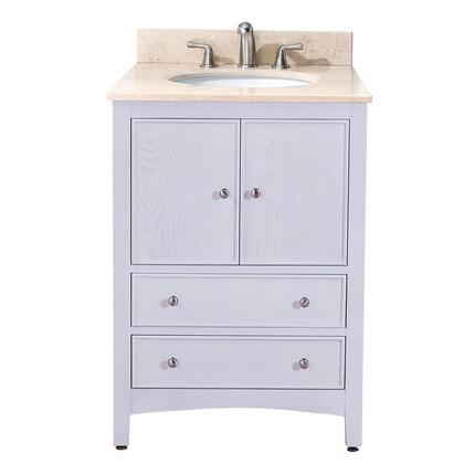"""Avanity WESTWOOD-VS24-WW-X Westwood 24"""" Vanity, with Top, White Sink, Two Soft Close Doors, and Two Soft Close Drawers, in White Washed Finish"""