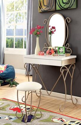 """Furniture of America Enchant Collection 32"""" Vanity with 1 Drawer, Stool, Mirror, Scrollwork Pattern and Metal Construction"""