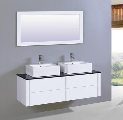 """Legion Furniture WT9012 60"""" Sink Vanity and Mirror with Tempered Glass Top and 2 Single Pre-Drill Faucet Hole in"""