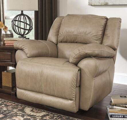 Signature Design by Ashley Lenoris U9890X28 Swivel Rocker Recliner with Thick Pillow Top Arms, Bustle Back with Headrest and Jumbo Stitching Details in