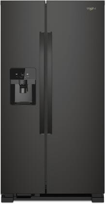 "Whirlpool WRS555SIH 36"" Side-by-Side Refrigerator with 25 cu. ft. Total Capacity, Pizza Pocket, LED Interior Lighting, Adaptive Defrost, Electronic Temperature Controls, in"