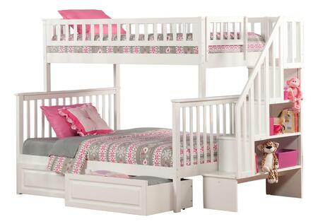 Atlantic Furniture AB5672 Woodland Staircase Bunk Bed Twin Over Full With Raised Panel Bed Drawers