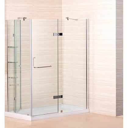 "Aston Global SD972-8- 60"" x 32"" Frameless Shower Enclosure with Shower Base including Shelving Feature in Chrome Finish - X Hand Drain"