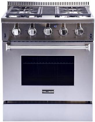"""Hallman HGR30 30"""" 4.2 Cu. Ft. Professional Convection Gas Range with 4 Sealed Burners, up to 15,000 BTUs and Dishwasher Safe Grates in Stainless Steel"""