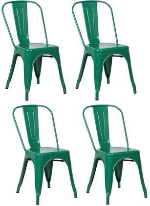 EdgeMod EM112DGRNX4 Trattoria Series Modern Metal Frame Dining Room Chair