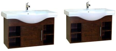 Bellaterra Home 203132X Wall Mount Style Sink Vanity - Wood - Walnut